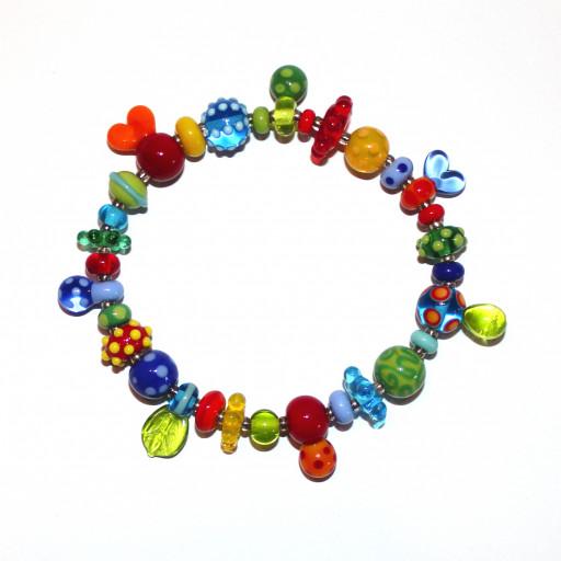 Armband Farbflash mit kunterbunten Perlen aus Muranoglas, verschiedene witzige Perlenformen