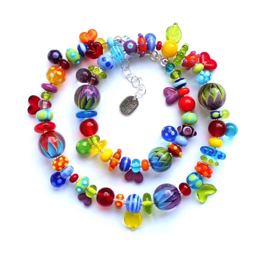 Farbflash kunterbunte Kette aus Glas und Silberelementen