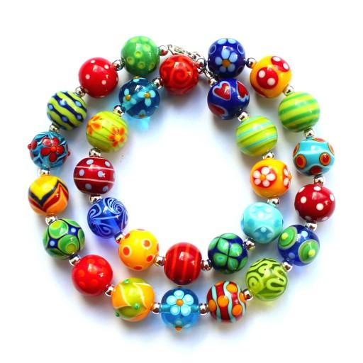 Lebensfreude Kette aus bunten handgefertigten Perlen aus Muranoglas