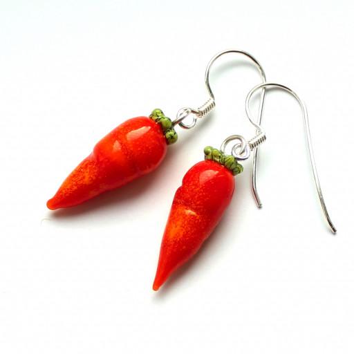 Karotten aus Muranoglas mit Brisuren aus Sterlingsilber