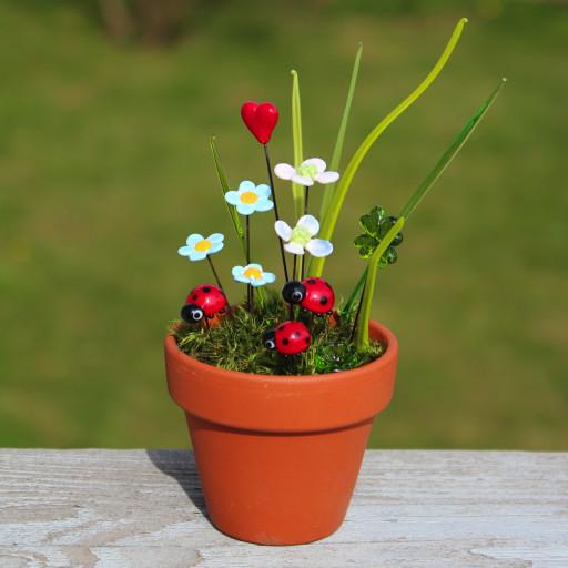 Marienkäfer,Glücksklee, Blüten und ein Herz aus Glas sind in einem Tontopf mit Moos arrangiert.